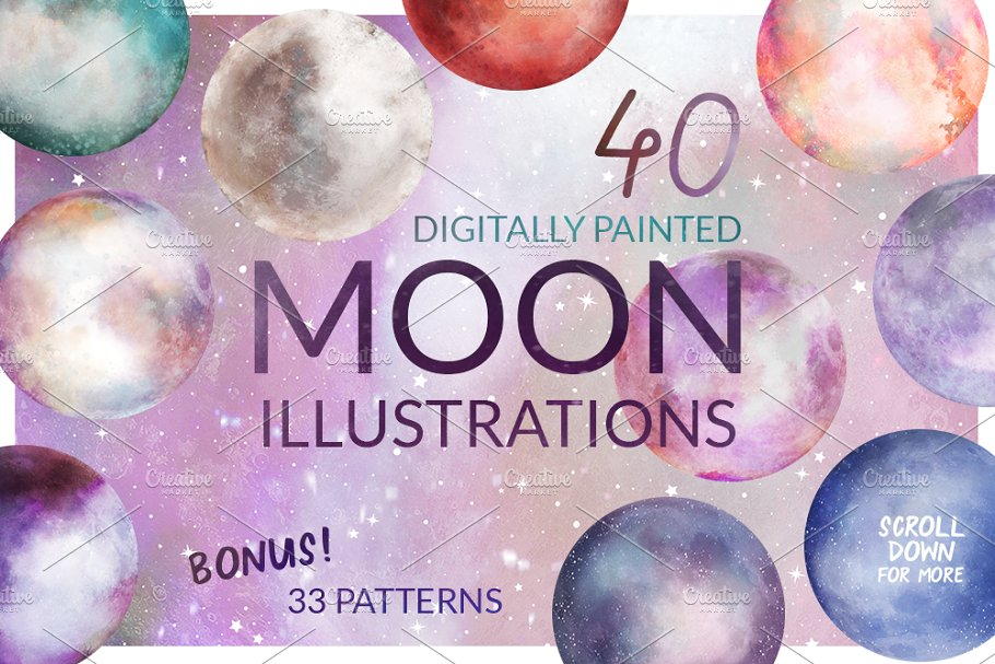 Moon Illustration Set