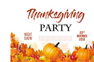 Thanksgiving Party Flyer Vector