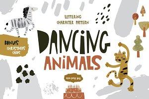 Dancing animals. Graphic set