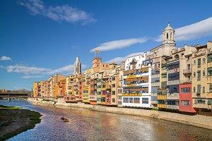 Girona. Facades, river & bell towers