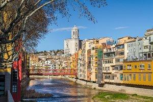 Girona cathedral and Eiffel bridge