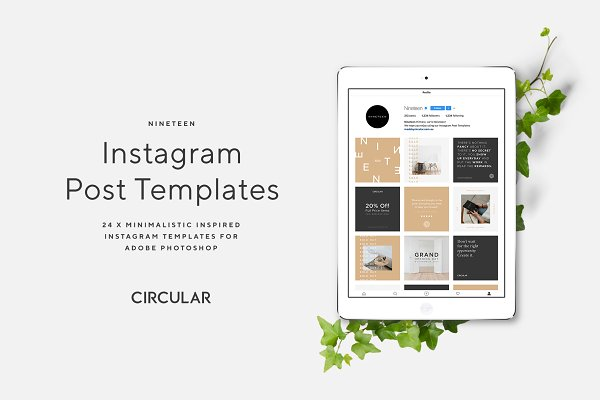 Social Media Templates: Circular - NINETEEN / Instagram Post Templates