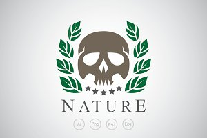 Skull and Leaf Logo Template