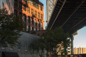 Street view under Manhattan bridge
