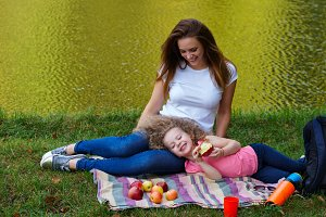 Family picnic. Mother and daughter