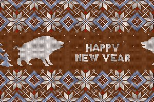 Knitted pattern with wild boars