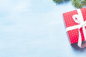 Christmas background on blue with