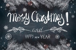 Christmas card with hoar branches