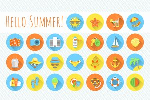 Flat Round Summer Beach Icons