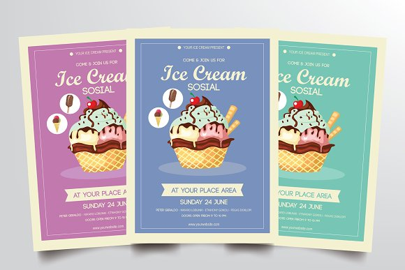 ice cream flyer template flyer templates creative market