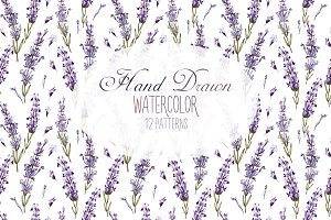 12 Watercolor Lavender Patterns