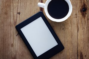E-book reader and coffee