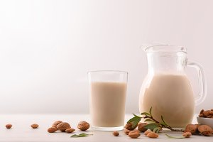 Healthy nutrition with almond drink