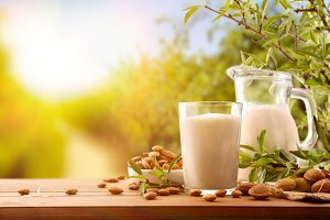 Glass & jug with almond drink nature