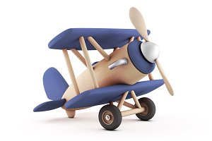 Low poly wooden toy airplane