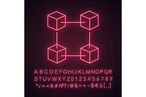 Blockchain technology neon icon