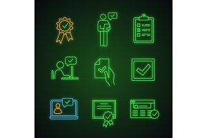 Approve neon light icons set