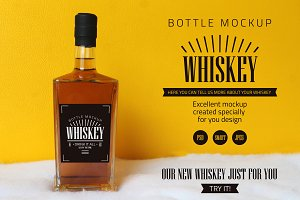 Whiskey bottle mockup.