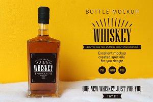 Whiskey bottle mockup.