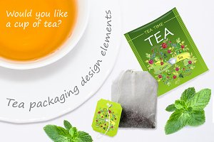 Tea packaging watercolor elements