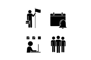 Business management glyph icons set