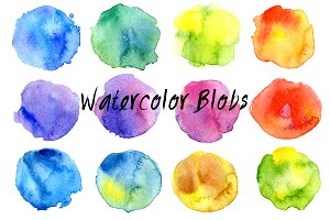 12 colorful watercolor blobs