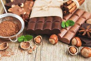 Chocolate and cocoa powder