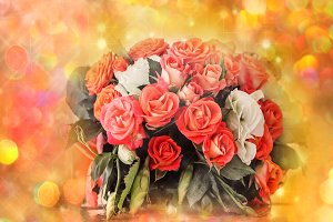 Pretty bouquet of red and pink roses