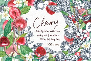 Cherry Graphic & Watercolor clipart