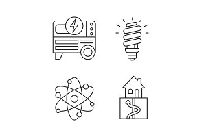 Electric energy linear icons set
