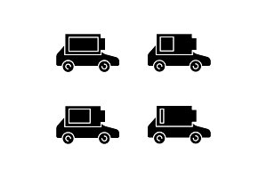 Electric car battery charging icons