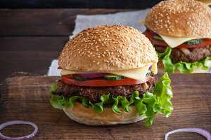 cheeseburger with meat patties