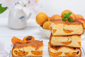 apricot biscuit cake cut into square