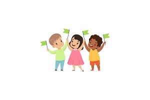 Multicultural smiling little kids