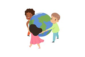 Cute little kids holding hands