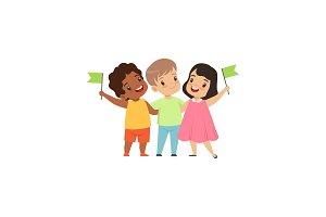 Multicultural little kids standing