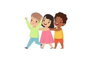 Multicultural little kids having