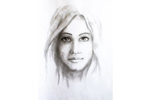 Portrait of a girl, drawn in pencil
