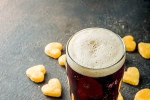 Beer and snack for Valentine's day