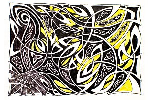 Abstract wicker pattern drawing
