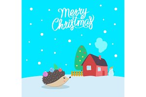 Merry Christmas Greeting Poster with