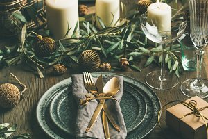 Christmas or New Years table setting