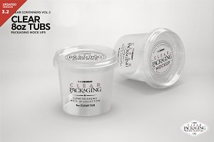 Clear 8oz Tubs Packaging Mockup