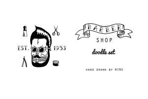 Barber shop. Doodle set