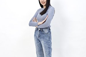 Asian woman portrait crossing arms