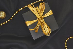 Luxury black gift boxes with gold