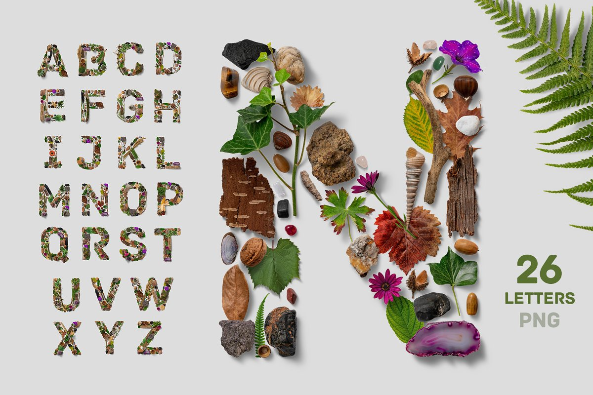 Letter Made Out Of Objects.Flatlay Nature Alphabet