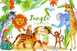 Jungle wild animal clipart