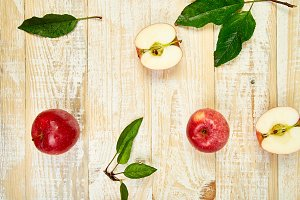 Fresh red ripe apples fruits whole