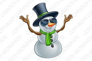 Cool Christmas Snowman in Sunglasses